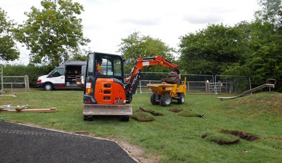 Installation of the new playground equipment begins